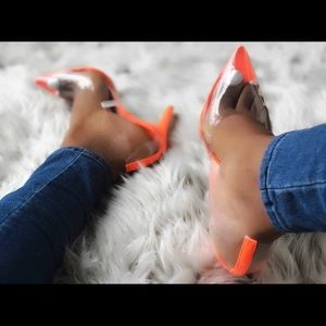Shoes - Clear Perspex PVC Pointy Toe Pumps Neon Orange